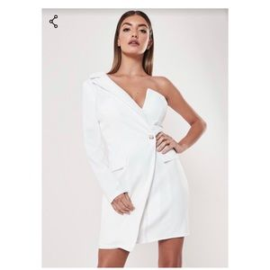 Miss Guided White Blazer dress